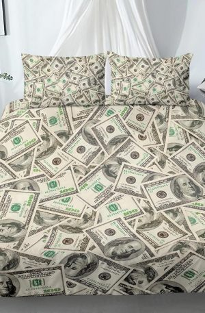 3D Modern Bedding Set Dollar Motif Printed Duvet Cover 2/3 Pieces Money Math Pattern Funny Bed Set