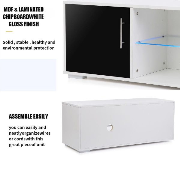 39 Inch High Gloss LED TV Stands Cabinet Modern TV Unit Bracket with Drawers Living Room- Bedroom