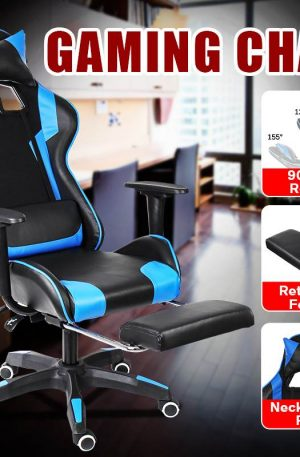 Office Footrest Chair Gaming WCG Gaming Chair Leather Internet Computer Office Racing Gamer Chair Swivel Lying Armchair