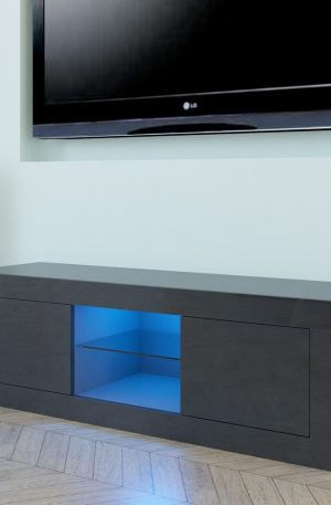 LED Two Door TV Cabinet Black End Table TV Stand