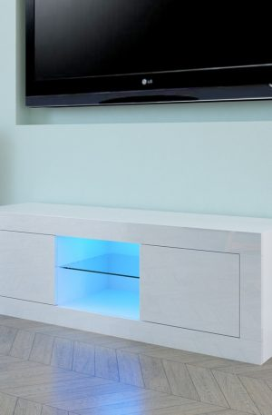 LED Two Door TV Cabinet White End Table TV Stand