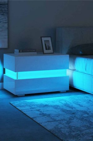LED Light Nightstands Drawers