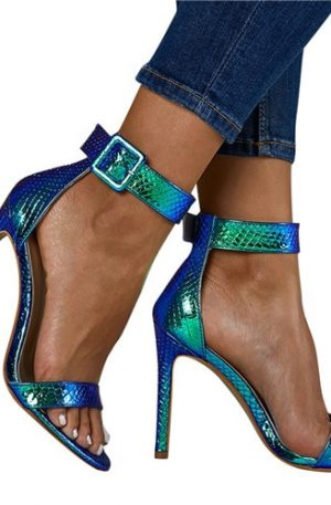 Woman Thin High Heels Sandals Open-Toe Buckle Strap Wedge