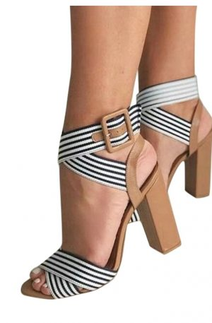 Women's Ankle Strap High Heels Open Toe Sandals Platform Belt Buckle
