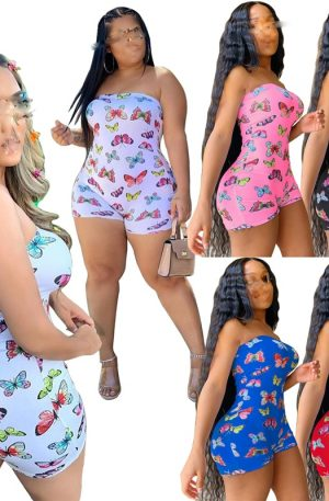 Women Sleeveless Jumpsuit Butterfly Design Strapless Slim Fit Fashion Elegant Clothing