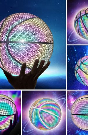 Holographic Reflective Glowing Basketball