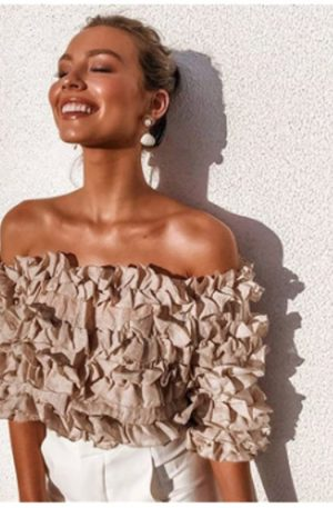 Ruffle Long Sleeve Office Blouse Women Off Shoulder Lace Crop