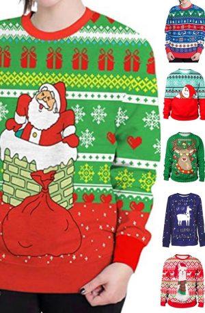 Unisex 3D Christmas Sweatshirt For Gift Santa Claus Print Pullover