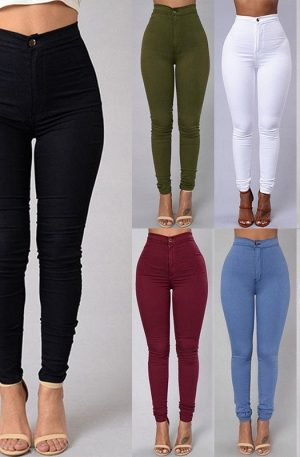 Women Jeans Plain Leggings Sexy High Waist Fitness Pants White Black Blue Tight Clothing