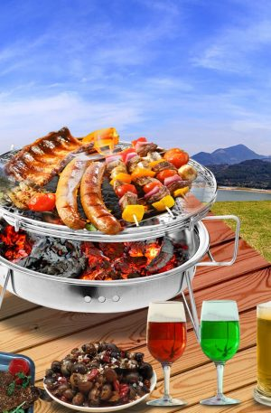 Mini Outdoor Stainless Steel Portable Folding BBQ Grill