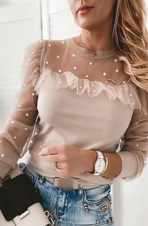Women Long Sleeve Pearl Ruffle Lace Mesh Blouse