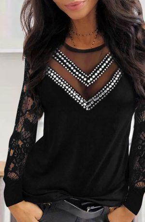 Ladies Lace Mesh Diamond Long Sleeve Blouse